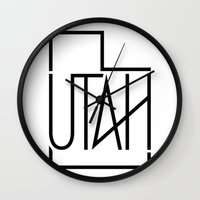 utah Wall Clocks featuring Utah by Drbn