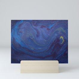 Blue Starry Night Watercolor Mini Art Print