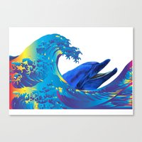hokusai Canvas Prints featuring Hokusai Rainbow & Dolphin by FACTORIE