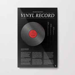 The Iconic Vinyl Record (Black, Red) Metal Print
