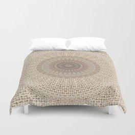 Unique Texture Taupe Burlap Mandala Design Duvet Cover