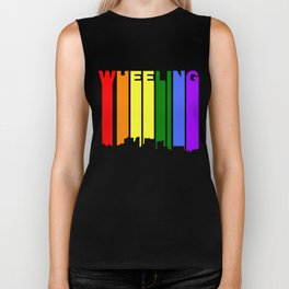 Wheeling West Virginia Gay Pride Rainbow Skyline Biker Tank