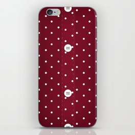 Red Polka Dot Button Up iPhone Skin