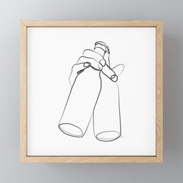 """ Kitchen Collection "" - Hand Holding Two Beer Bottles Framed Mini Art Print"
