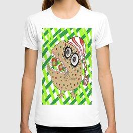 Christmas Fruitcake Monster, green lattice background T-shirt