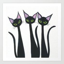Whimsical Black Cats Art Print