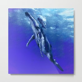 Whale with baby Metal Print