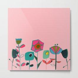 Mid century flowers pink Metal Print