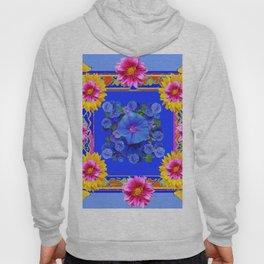 BUTTERFLIES FUCHSIA DAHLIA SUNFLOWER MORNING GLORY BLUE  FLORAL Hoody