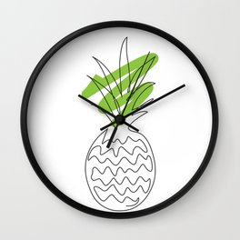 Pineapple , Pineapple wall art, Abstract line art, One line drawing, Modern Minimalist Wall Clock