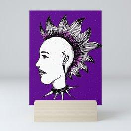 Cool Art Punk Girl Cartoon In Purple Rocker With Mohawk Mini Art Print