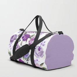 Elegant Girly Violet Lilac Purple Flowers Duffle Bag