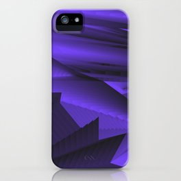 Strange gentle landscap with stylised mountains, sea and blue Sun. iPhone Case