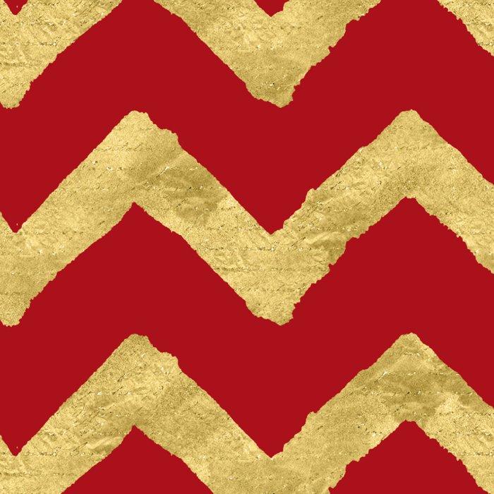 Chevron Red Gold Leggings