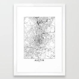 Austin White Map Framed Art Print