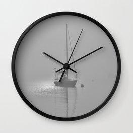 Foggy Harbor North Shore 8 BW Wall Clock