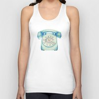 novelty Tank Tops featuring Rotary Telephone - Ballpoint by One Curious Chip