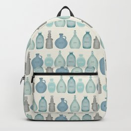 Cream Sea Beach Bottles > illustration > blue, grey, taupe, green Backpack
