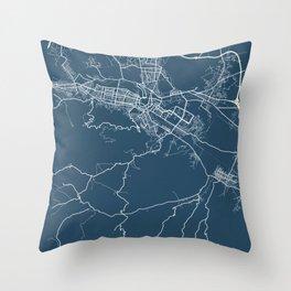 Skopje Blueprint Street Map, Skopje Colour Map Prints Throw Pillow
