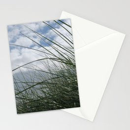 Grass in the dunes at sea against blue sky with white clouds Stationery Cards