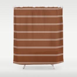 Brown and white stripes - Fall season Shower Curtain