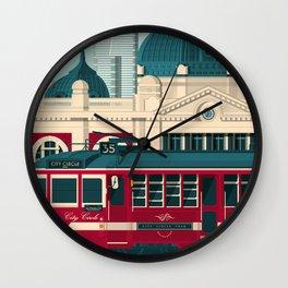 MELBOURNE AUSTRALIA Retro Travel Poster City Illustration Wall Clock