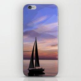 Sailing at sunset iPhone Skin