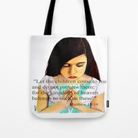scripture Tote Bags featuring Matthew 19:14 Bible scripture by Saribelle by Saribelle Inspirational Art