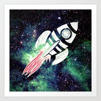 spaceship Art Prints featuring Spaceship by Cs025
