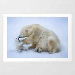 Polar bear with cub. Mother love. Art Print