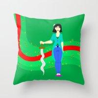 mulan Throw Pillows featuring Mulan by Eva Duplan Illustrations