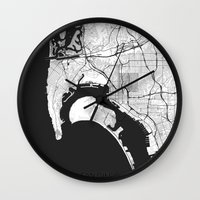 san diego Wall Clocks featuring San Diego Map Gray by City Art Posters