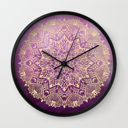 Gold mandala on maroon ink Wall Clock