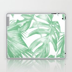 Tropics Palm Leaves Green on White Laptop & iPad Skin