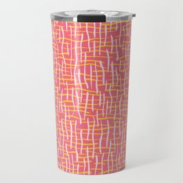 Pink Woven Burlap Texture Seamless Vector Pattern Travel Mug