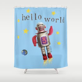 Hello world! Shower Curtain