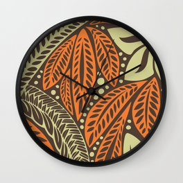 Cream orange retro colored Polynesian floral tattoo design Wall Clock