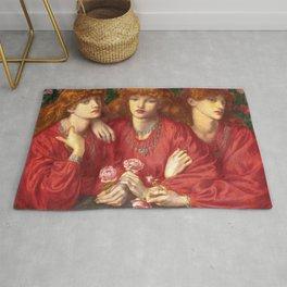 "Dante Gabriel Rossetti ""Rosa Triplex: A triple portrait of May Morris"" Rug"