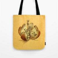 clockwork Tote Bags featuring Steampunk Orange by Eric Fan
