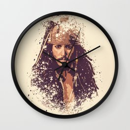Jack Sparrow splatter painting Wall Clock