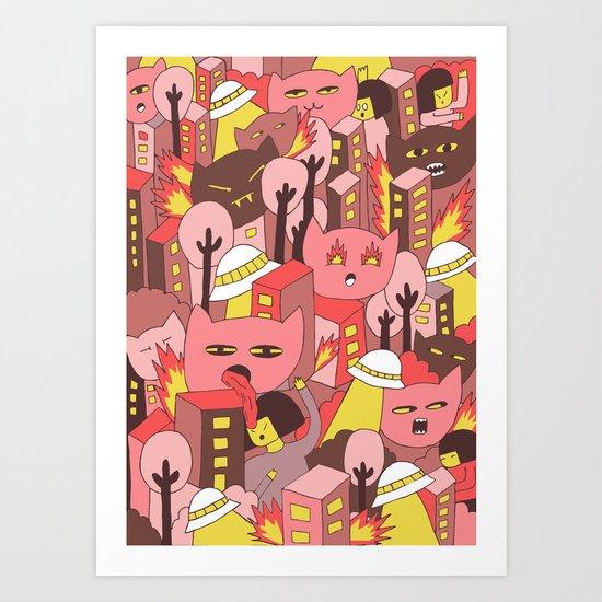 cat invasion Art Print