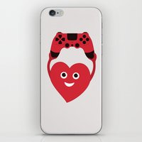 gaming iPhone & iPod Skins featuring Gaming Heart by Boriana Giormova