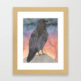 Raven at Sunset Framed Art Print
