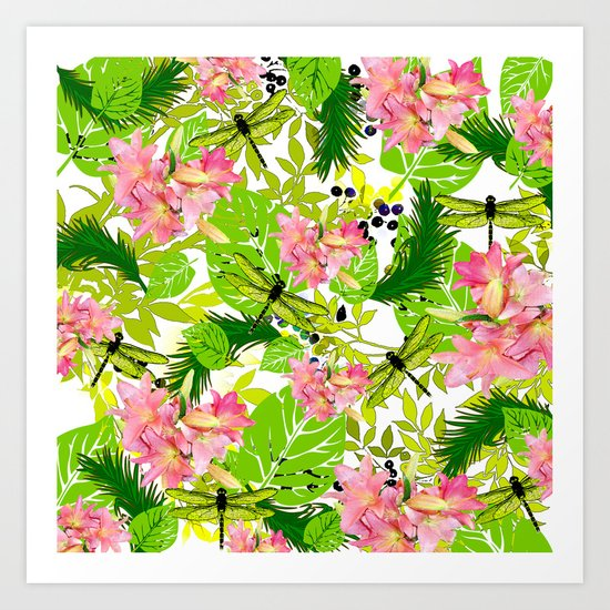 PALM AND LILY PINK AND GREEN Art Print