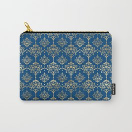 Elegant Blue and Gold Damask Pattern Carry-All Pouch