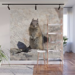 Watercolor Golden-Mantled Ground Squirrel 07, Dunraven Trail, Colorado, Pay Attention! Wall Mural
