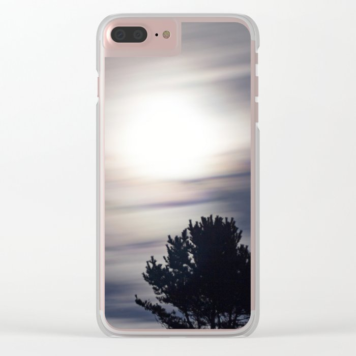Full moon and clouds Clear iPhone Case