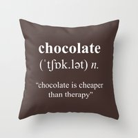 chocolate Throw Pillows featuring Chocolate by cafelab