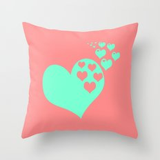 Love Coral Mint Throw Pillow