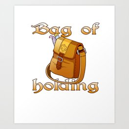 Role Playing Tabletop Gaming Print D20 Bag Holding RPG Tee Art Print